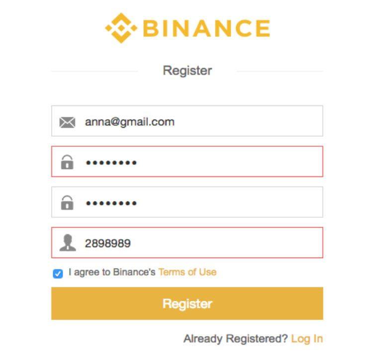 как зарегистрироваться на бирже Бинанс